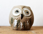 Small Pottery Owl Figure Handmade Woodland Bird Figurine - Brown Natural