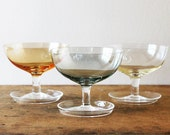 Sorbet / ice cream desert glasses colourful set of 3 Footed