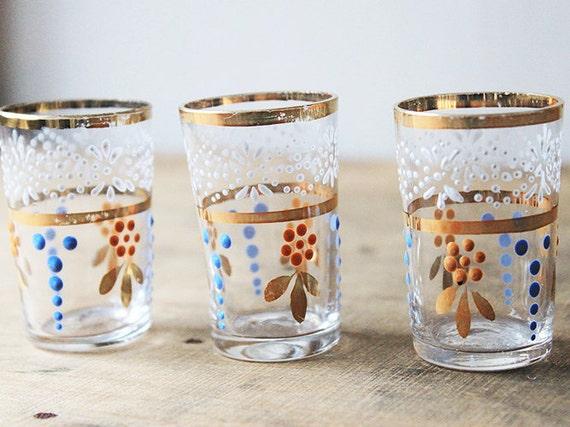 Hand painted drinking glasses gold trim orange blue by for Hand painted drinking glasses