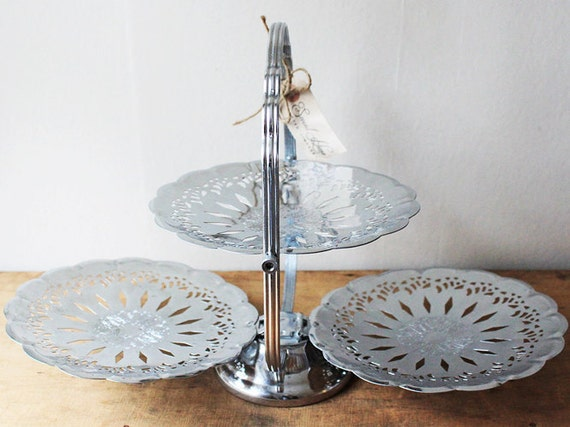 3 Tier Folding Serving Tray Cake Stand Display Silver Tone