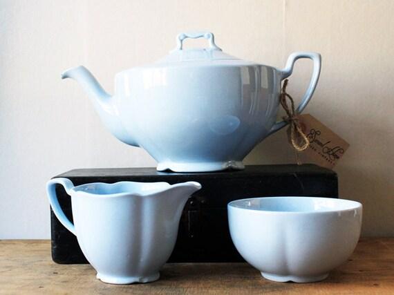 RESERVED Tea Set Blue Teapot Creamer / Milk Jug Sugar Bowl - Johnson Brothers Grey Dawn Tulip