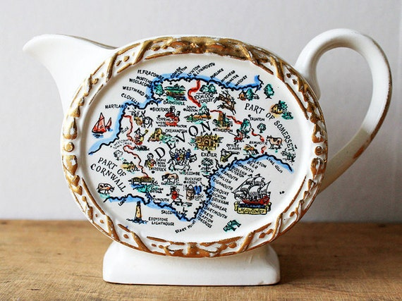 Souvenir Jug Pitcher Map Cornwall Devon England Pottery Holiday Creamer