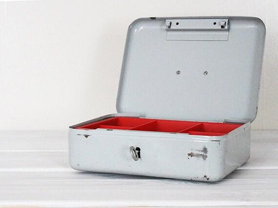 Vintage Industrial Cash Box Money Safe Grey Red Gray Metal