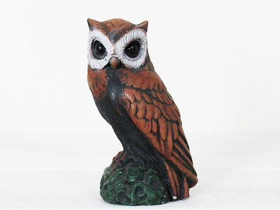 Owl Figure Bird Figurine Ornament Decoration brown beige cream