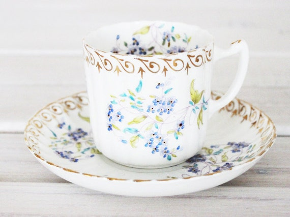 Vintage Teacup and Saucer Cup - Tea Party Floral Blue Green Plate Bone China England