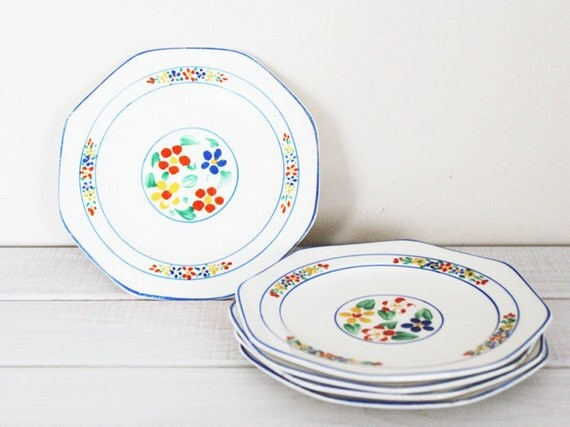 Vintage Tea Cake Plates Hexagon Serving Side Floral Square English Bone China 5 Tea Party blue yellow red primary green