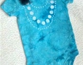 Fancy Pearls Turquoise Batik Tie Dyed Bodysuit, Size 3-6 mos