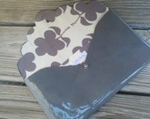 SALE Grey Leather Clutch/Diaper Clutch with Top Drawer Pop Flower fabric