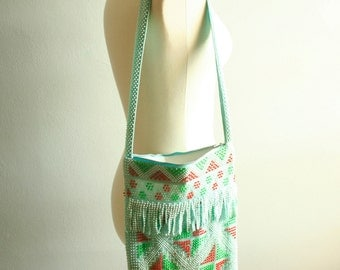 Vintage Beaded Purse with Fringe