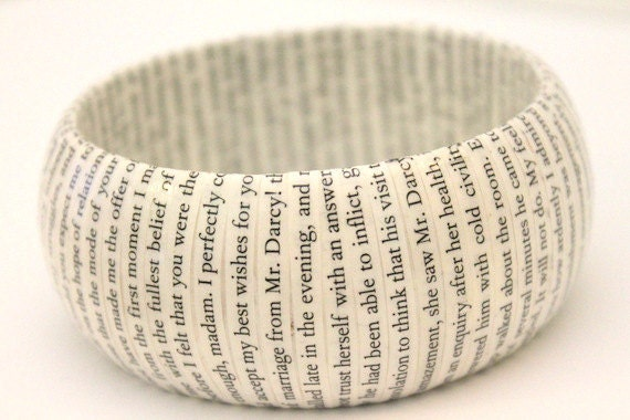Pride and Prejudice book bracelet - wood and repurposed vintage text bangle