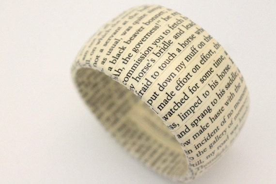Jane Eyre book bracelet - wood and repurposed vintage text bangle