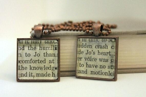 """RESERVED ITEM: custom order for Colleen - two """"Jo"""" Little Women pendants"""
