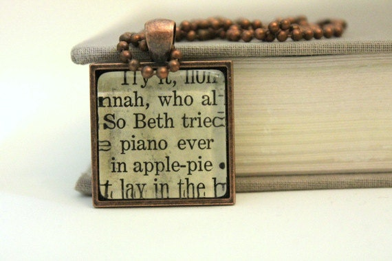 RESERVED FOR SUZI Little Women book pendant - Beth