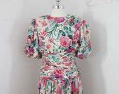 SALE - silk evening dress / floral print / vintage 90s