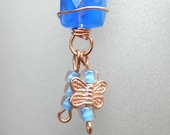 Free ship on cute blue and copper earrings