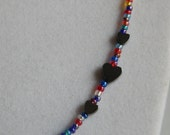 """29"""" Long Necklace with Multi Colored Seed Beads with Hematite Hearts"""