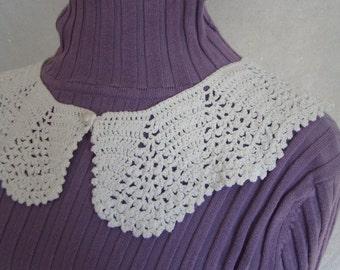 White Victorian fan crochet collar