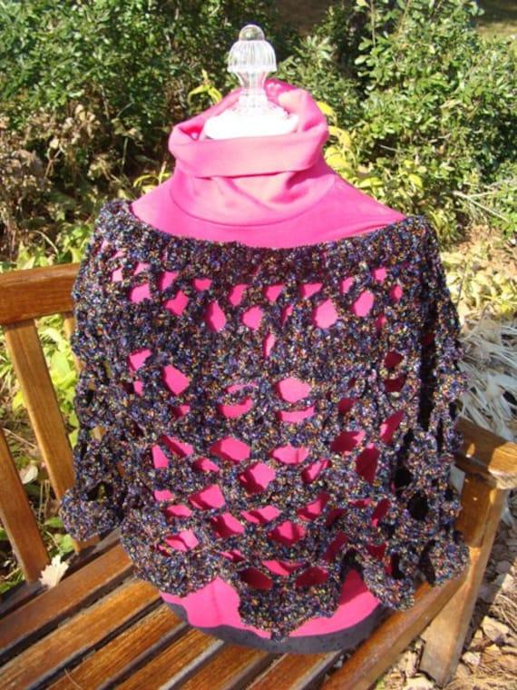Chunky crocheted black confetti boho chic poncho