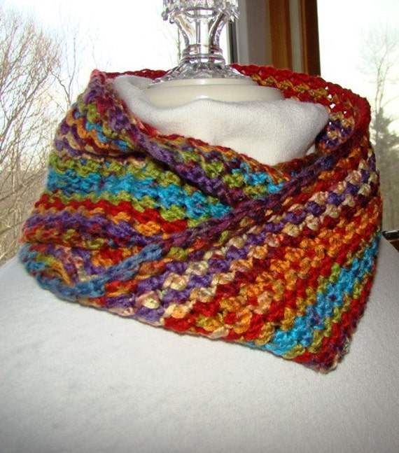 Fiesta colored infinity crocheted scarf
