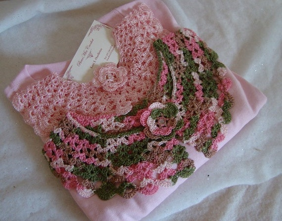Pink and green crocheted collars and T-shirt set