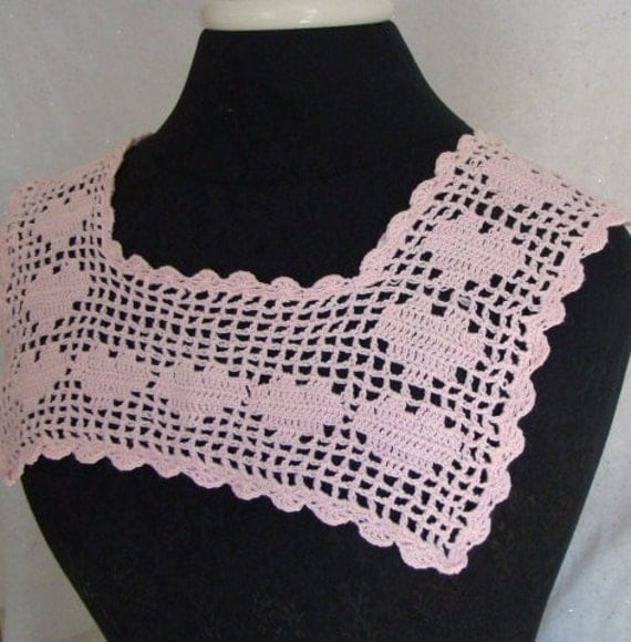 Pink square victorian Valentine heart filet crocheted collar READY-TO-SHIP