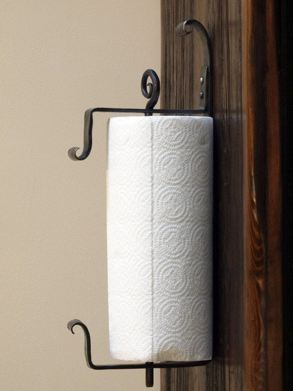 Wall Mounted Iron Paper Towel Holder Hand Forged By A
