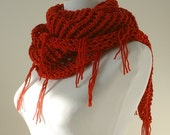 Cotton Lace Shawl/Scarf, Vegan Friendly in Cherry Red with Fringe, Sweet November Shawl, Valentine gift for Her