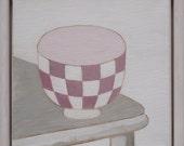 Reserved for Modern Folk Checkered Bowl - original framed oil painting