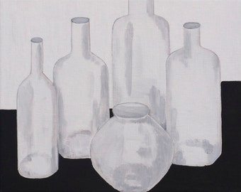 Vase and bottles original oil painting