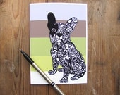 French Bulldog Zentangle Art Greeting Card