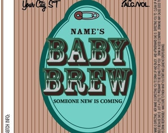 Home Brew Customized Beer Label - Baby Brew