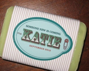 someone new is coming - baby shower favor - custom soap label