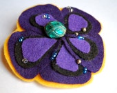 Purple Pansy Flower Hair Clip with Vintage Turquoise Bead in center