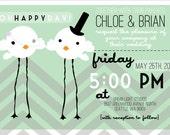 Chevron love birds wedding invitation suite ( Invitation, envelope, & RSVP)