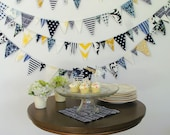 Fabric Bunting- Navy and Gold- 20 foot sailor boy party theme baby shower wedding blue yellow white banner garland triangles birthday