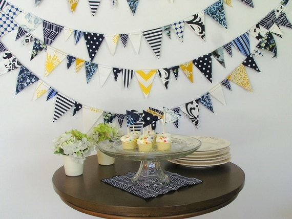 Fabric Bunting Navy And Gold 20 Foot Sailor Boy By