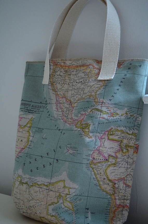 SALE - Tote Bag in World Map- market tote globe travel shopping bag diaper bag school canvas continents atlas blue pastel library tote
