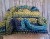 Swirls and Blue/Green Rainbows - A Knit Cap