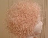 Pretty Pink Pouf - Fun fur pink pouf hat with rhinestones - crochet faux fur