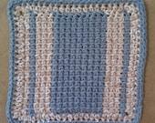 Cotton Washcloth or Dishcloth -Tunisian Stitch in Denim and Sand