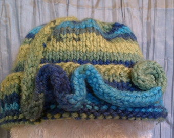Swirls and Blue/Green Rainbows - A Knit Cap