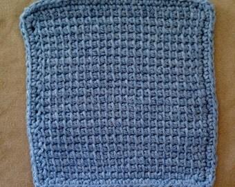 Cotton Tunisian Stitch Dishcloth or Washcloth in Denim