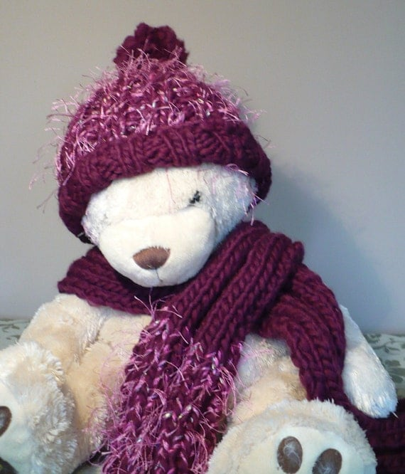 Purple Fun Knit Hat and Scarf