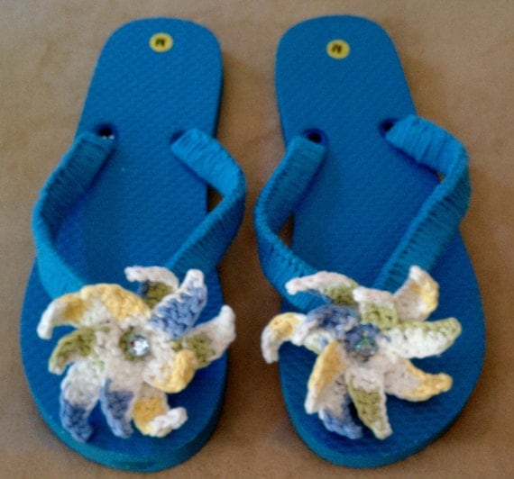 Pretty Summer  Flip Flops - Turquoise ,Green, Blue, Yellow, White and Sparkles