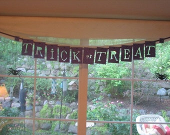 Glittered Halloween Trick or Treat Banner  Holiday Decoration