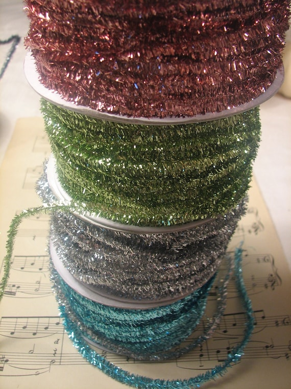 Vintage inspired metalic wired tinsel garland by