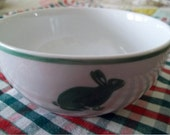 Green and White Vintage Hungarian Porcelain Bunny Bowl