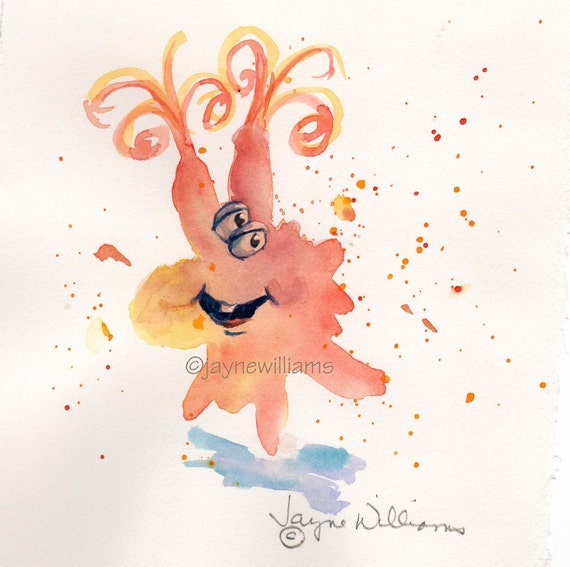 Fun Monsters - original watercolor print  -orange-SOLD -reserved do not purchase