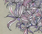 """Original Art Print, Lilies, 11""""x14"""" Colorful Stylized Lilies in Ink and Watercolor"""