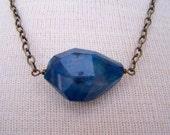 Blue Agate Necklace. Geode Drusy Druzy Necklace. Blue Moon. Semi Precious.